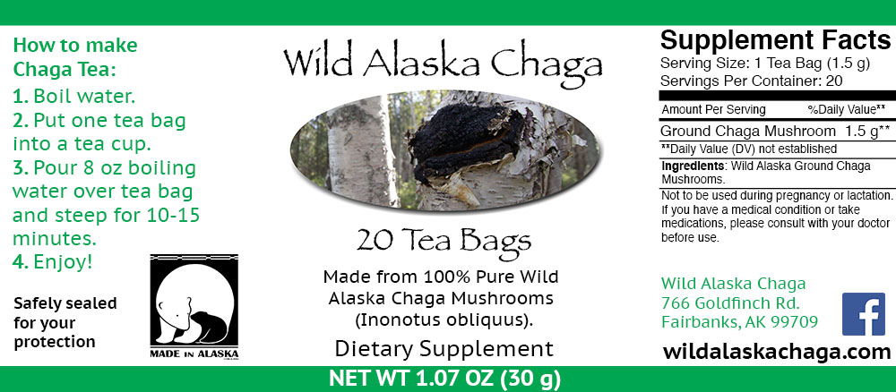 20 Tea Bags Label - Wild Alaska Chaga