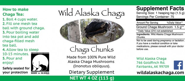 Chaga Chunks 4 oz Label - Wild Alaska Chaga