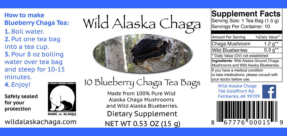 Blueberry Chaga Tea Bags Label Wild Alaska Chaga