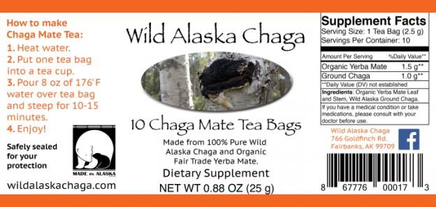 Chaga Mate Tea Bags Label Wild Alaska Chaga