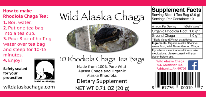 Rhodiola Chaga Tea Bags Label Wild Alaska Chaga