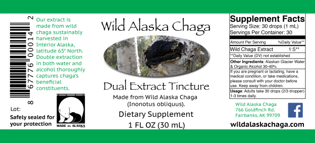 Extract Tincture 1 oz Label - Wild Alaska Chaga